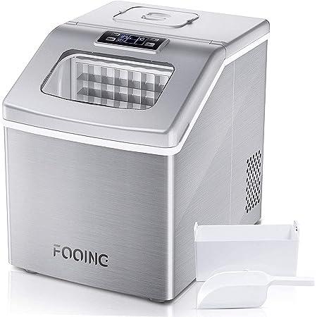 FOOING Machine à glaçons carrée avec plan de travail prêt en 13 minutes 24 grandes sorbetière avec pelle à glace et panier Affichage LED Pour la maison, le bar, la cuisine, le bureau