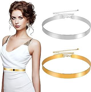 2 Pieces Metal Polished Adjustable Metal Mirror Waist Belt Metal Plain Mirror Waist Chain Belt for Girls Women Supplies