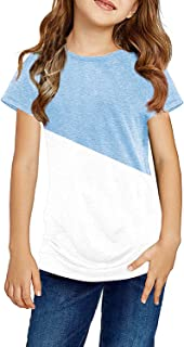 Ebifin Girls Short Sleeve T Shirts Color Block Tunic Tops Casual Loose Cotton Tee Blouse for 4-13 Years