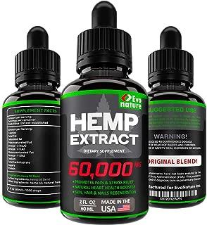 Hemp Oil 60000 MG - Ideal Omega 3, 6,9-100% Natural & Safe Hemp Seed Oil - Stress & Anxiety Relief - Made in USA - Improve Health & Immunity Support - Deep Sleep & Mood Boost