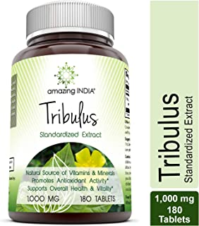 Amazing India Tribulus Extract Dietary Supplement - 1000MG Tablet (Non-GMO) - Standardized to contain Min. 45% Saponins - Supports Lean Muscle Mass, Promotes Cardiovascular Health, Immune System (180)