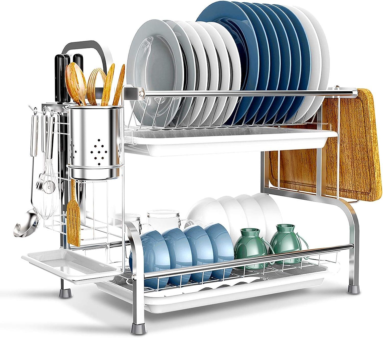 Dish Drying Rack BENEECA 2 Tier Steel 304 High quality Stainless Max 66% OFF Rustproof D