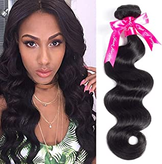 Beauty Princess Hair Brazilian Body Wave 1 Bundle 8A Unprocessed Virgin Human Hair Weaves 95-100g/bundle Natural Black Color (22inch, Black)