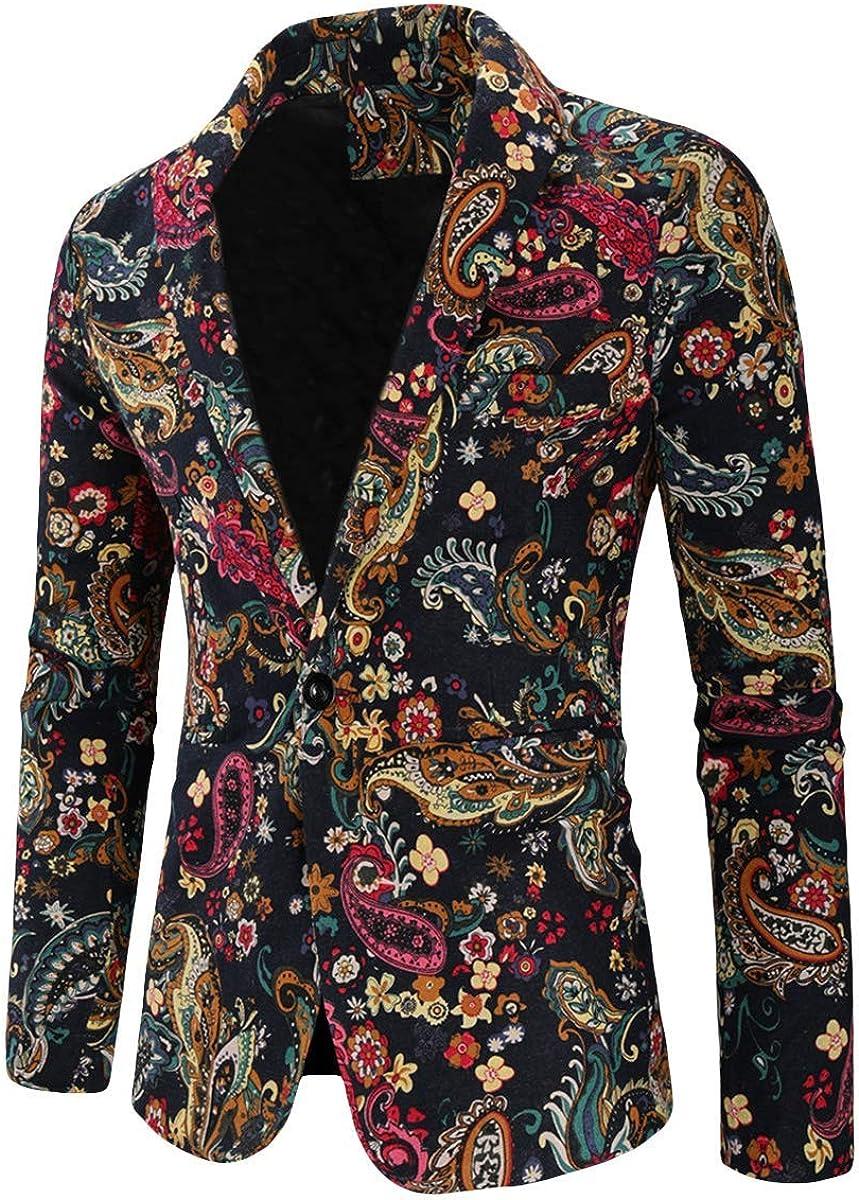 Mens Printed Suit Jacket 1 Button Floral Patterned Sport Coat Blazer Jacket