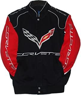 Corvette Racing Embroidered Cotton Jacket JH Design Black and Red Size XXXL