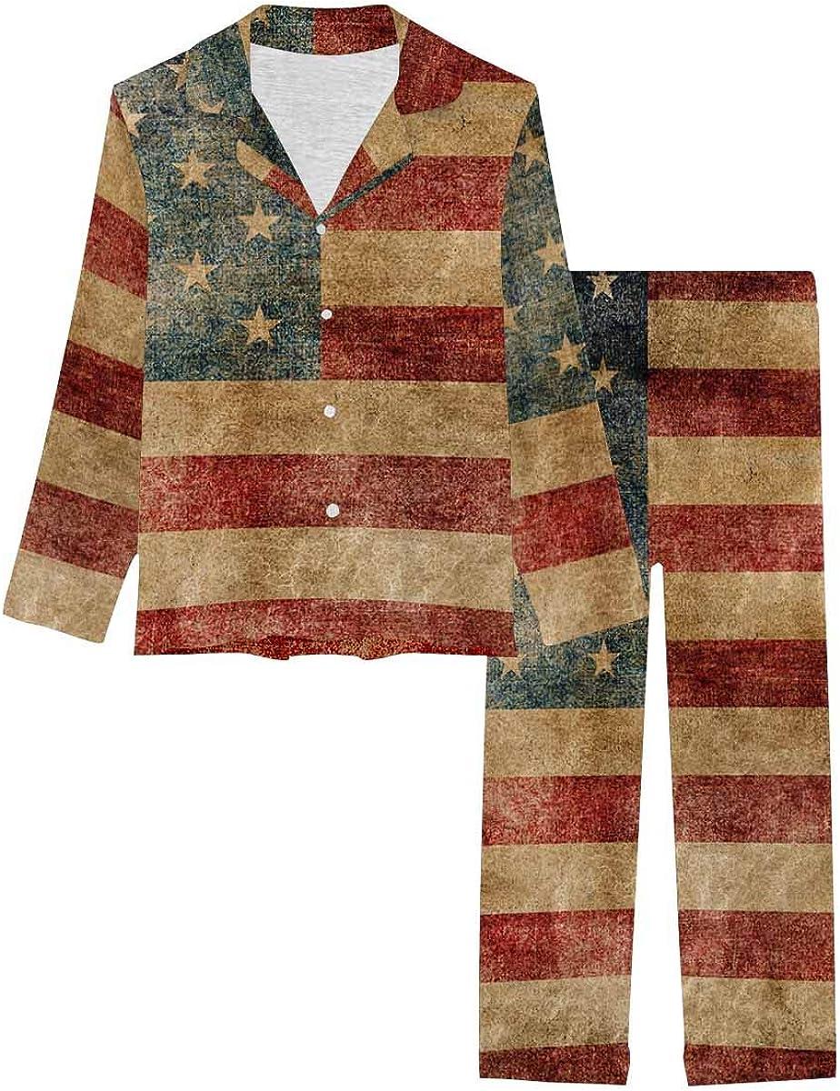 InterestPrint Soft Nightwear Loungewear with Long Pants Pajamas Set American Flag Background