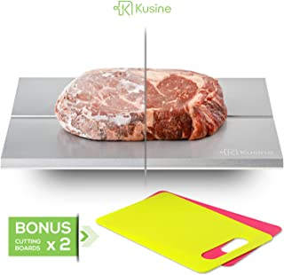 Premium defrost tray and thawing plate. Fast defrosting tray for frozen foods. This rapid meat thawing tray works like magic! DISHWASHER SAFE with TWO BONUS cutting boards