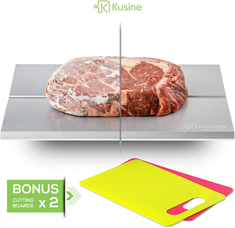 Premium Defrost Tray And Thawing Plate Fast Defrosting Tray For Frozen Foods This Rapid Meat Thawing Tray Works Like Magic DISHWASHER SAFE With TWO BONUS Cutting Boards