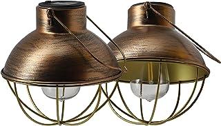 YAKii Solar Lantern Hanging Outdoor Metal Solar Lamp with Warm White Light Decorate for Yard Garden Pathway Patio Porch De...