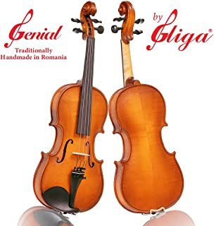 4/4 Full size Beginner 'GENIAL 1-Oil' Model, a Gliga Violin Handmade in Romania, Beginning Student Level, Hand Varnished, Hand Inlaid Purfling, Hand Carved Solid European Wood, Ready-To-Play