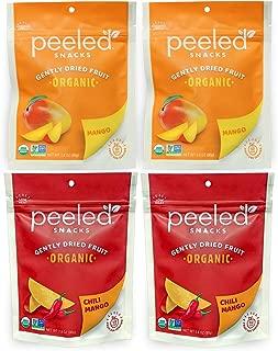 Peeled Snacks Organic Dried Fruit Mango and Chili Mango Variety Pack, 4 Count