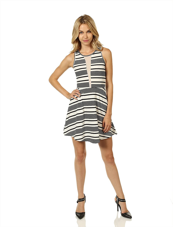7 Encounter Women's Mesh Sleeveless A-Line Mini Dress Black White Stripes