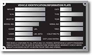 Large Aluminum Trailer ID Replacement Tag Vin Plate Serial GVWR Medical Blank