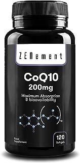 Coenzima Q10 200mg. 120 Perlas | Máxima Absorción y Biodisponibilidad | 100% Natural CoQ10. No GMO. Sin Gluten