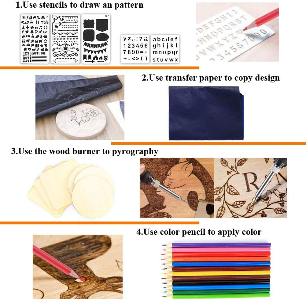 Professional Pyrography/ Kit Woodburning Tool Set DIY LCD Display Wood Burning Pen Burner Adjustable Temperature for Embossing Carving Soldering Tips 110pcs Wood Burning Kit