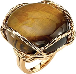 Palm Beach Jewelry 14K Yellow Gold Plated Genuine Brown Tiger's Eye Pillow Ring