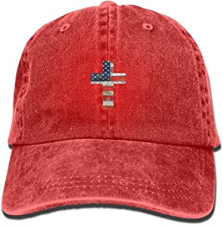 Cross USA Flag Cartoon Unisex Adjustable Baseball Cap Dad Hat