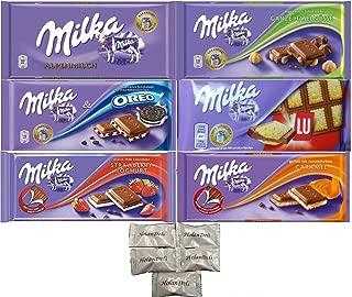 Assorted 6 Milka Chocolate (Oreo, Alpine Milk, LU, Milka Whole Nuts, Caramel, Strawberry). Includes Our Exclusive HolanDeli Chocolate Mints