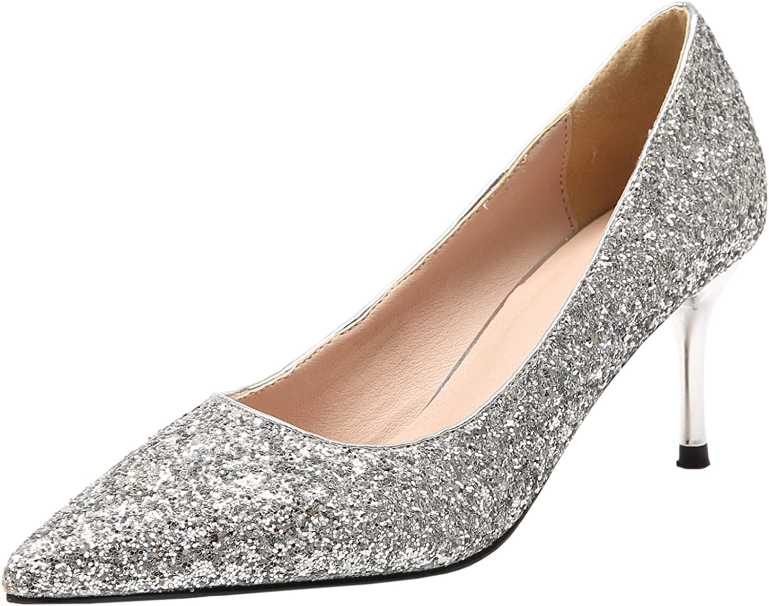 BIGTREE Wedding Pumps for Women Pointed Toe Bling Sequins Stiletto Dress Pumps