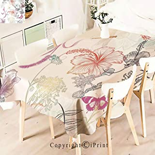 Party Decorations Polyester Tablecloth,Hibiscus Ornaments Moth and Dragonfly Symbolic,Waterproof Stain Resistant Table Topper,W55 xL71,Multi