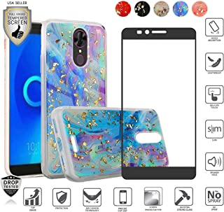 Compatible for Alcatel Onyx 5008r Case with [Full Edged Tempered Glass Screen Protector], Beautiful Marble Glitter Bling Design Hybrid [Shockfpoof] TPU Cover Case for Women Girl Design (Colorful)