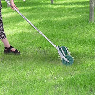 Wodesid 16.5inch Roller Lawn Aerator Gardening Tool for Grass, Soil w/Tine Spikes, 60-inch Handle Lawn Maintenance and Gardening Hand Tools