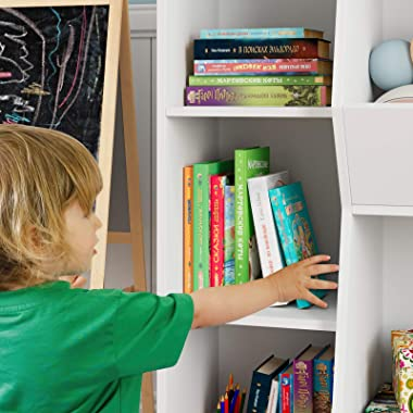 HOMECHO 5 Cubby Kids Bookcase, Children's Toy Storage Cabinet, Wide Toddler Bookshelf for Playroom, Reading Nook, Nursery