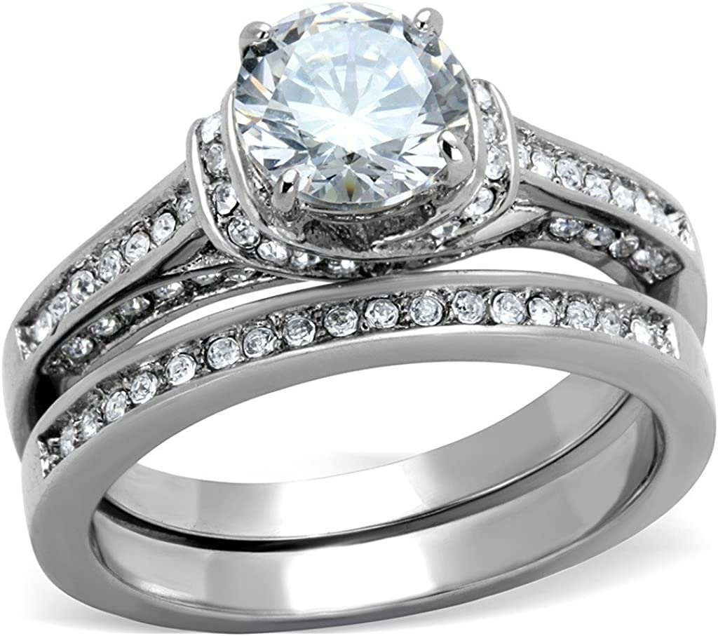 1 Carat CZ Womens Stainless Steel Wedding Bridal Anniversary Promise Ring Set