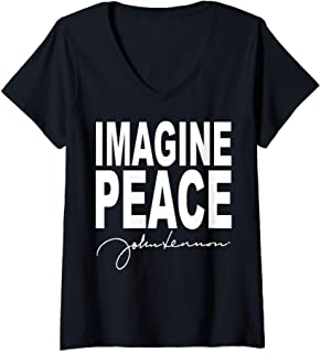 Femme John Lennon - Imagine Peace T-Shirt avec Col en V