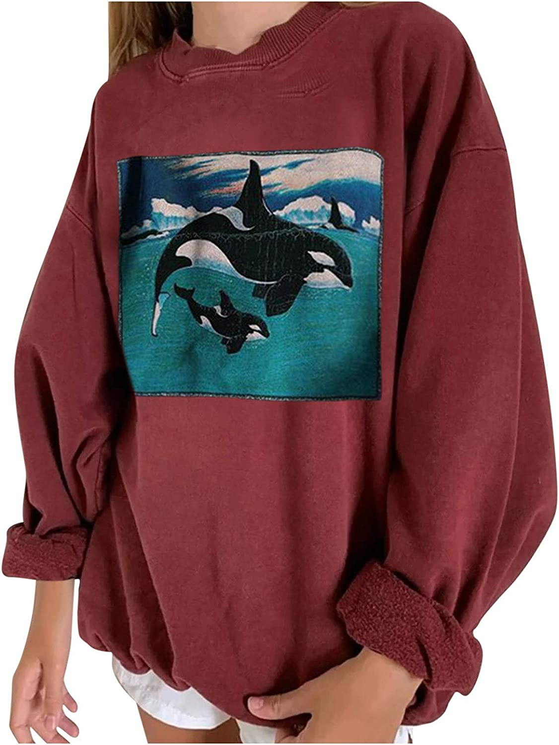 Women's Oversized Batwing Long Sleeve Sweatshirts Casual Loose Crewneck Tunic Shirts Vintage Graphic Pullover Tops