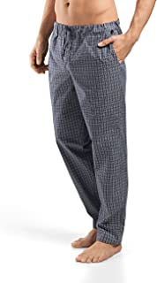 HANRO Men's Night and Day Woven Lounge Pant, Grey Check, Large