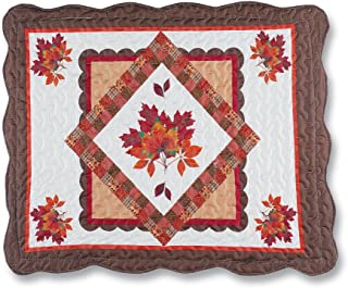 Fall Leaves Quilted Diamond Pillow Sham, Patchwork Designs, Reversible, Bedroom Decor