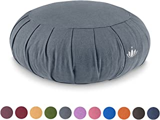 Lotuscrafts Cojin Zafu Meditación Yoga Zen - Altura 15 cm - Relleno de Espelta - Cubierta en Algodon Lavable- Cojin Yoga Zafu - Cojin Suelo Redondo - Meditation Cushion - Certificado Gots