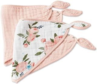 Little Unicorn Cotton Muslin Bandana Bib 2 Pack - Watercolor Roses