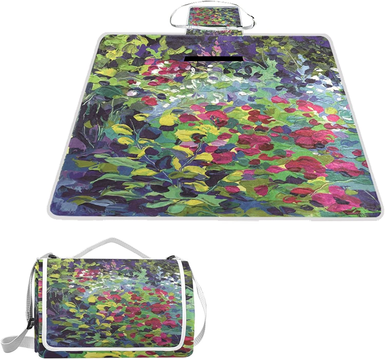 LiKai Camping Picnic Blanket Beach Mat Flower Painting Foldable Portable Waterproof Outdoor Travelling Picnic Mat