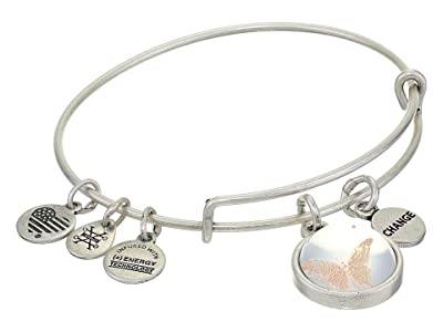 Alex and Ani Duo Charm Mantra Bangle Bracelet (Silver/Butterfly Mantra) Bracelet