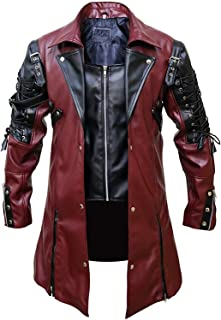 Steampunk Clothing Gothic Trench Coats for Men Faux Leather Victorian Full Zipper Long Jacket Renaissance Costume
