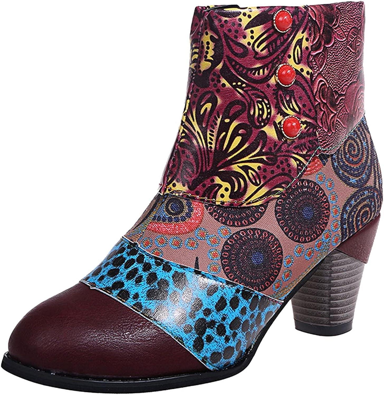 Womens Lug Sole Platform Ankle Boots Elastic Chunky Block Heel Non-Slip Combat Comfortable Booties