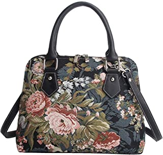 Signare Women's Navy & Pink Tapestry Top Handle Handbag with Detachable Strap to Convert to Shoulder Bag with Peony Flower in Black (CONV-PEO)