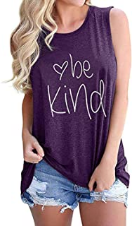 Gnpolo Women Be Kind Tank Tops Sleeveless Casual Tees Graphic Letters Print O Neck T Shirts