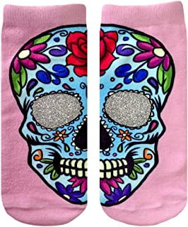 SUGAR SKULL GLITTER ANKLE SOCKS BY LIVING ROYAL,Pink,One Size Fits Most