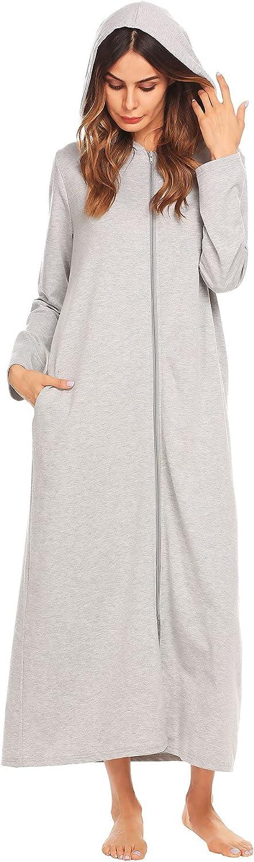 Ekouaer Womens Zip Up Robe Long Hooded Omaha Mall Sweatshirt Floo Ranking TOP1