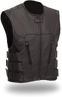 The Nekid Cow Men's Updated SWAT Team Leather Motorcycle Vest Soft Buffalo Leather - Tactical Outlaw Black Biker Vests for Men - Law Enforcement Style Protective Side Adjustment Soft Leather (LARGE)