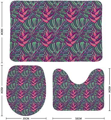 Ensemble de tapis de salle de bain CHEHONG comprenant un tapis de contour en forme de U et une housse de siège de toilette antidérapante, extra doux en polaire corail en mousse à mémoire de forme, Velours corail, Couleur 2, Taille unique