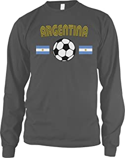 Amdesco Men's Argentina Soccer, Football, Argentine Futbol Long Sleeve Shirt
