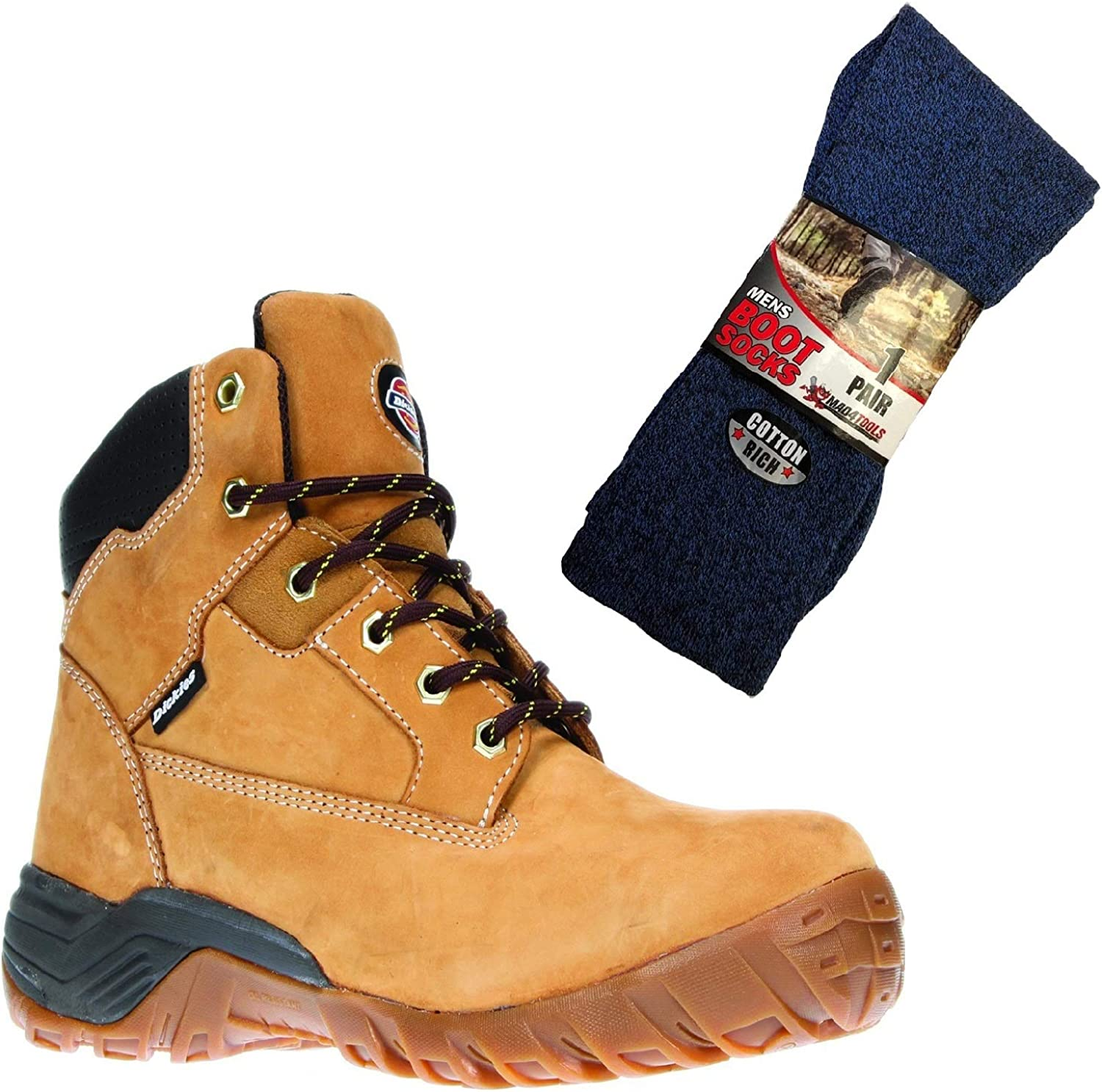 Dickies Graton Safety Work Boots and Boot Socks