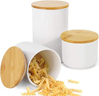 hjn Food Storage Jar with Bamboo Lid- White Ceramic Food storage canister for serving Coffee, Tea, Bean and More A Set of 3pcs