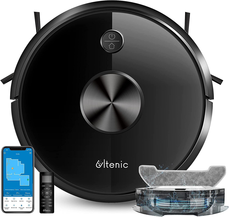 Ultenic Robot Aspirador y Fregasuelos D5s Pro, Tanque de Agua para Fregar y aspirar, 2500Pa, Mapeo navegación Inteligente con Mapa, Compatible con App, Alexa y Google Home, Mando a Distancia