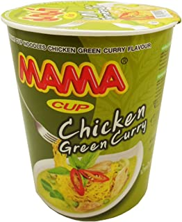 Mama instant cup noodles Chicken Green Curry Flavor Thai original spicy NetWt 60G (2.11 Oz) x 9 cups