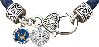 Navy Mom, Navy Bracelet, US Navy Bracelet, Navy Jewelry, Crystal Heart On Genuine Leather Bracelet. Hypoallergenic-Safe, No Nickel, Lead, Or Poisonous Cadmium